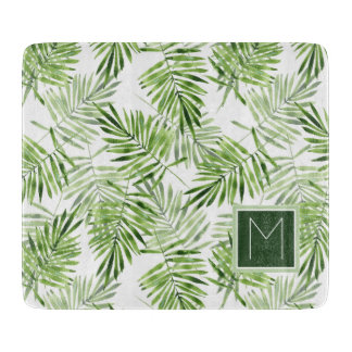 Green Palm Leaves | Monogram Cutting Board