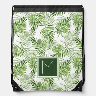 Green Palm Leaves | Monogram Drawstring Bag