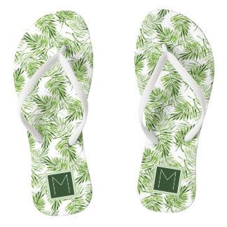 Green Palm Leaves | Monogram Flip Flops