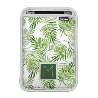 Green Palm Leaves | Monogram iPad Mini Sleeve