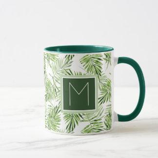 Green Palm Leaves | Monogram Mug