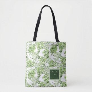 Green Palm Leaves | Monogram Tote Bag