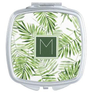 Green Palm Leaves   Monogram Travel Mirror