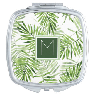 Green Palm Leaves   Monogram Vanity Mirrors