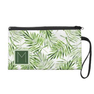 Green Palm Leaves | Monogram Wristlet