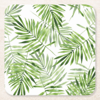 Green Palm Leaves Square Paper Coaster
