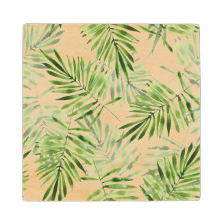 Green Palm Leaves Wood Coaster