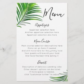 Green Palm Tree Beach Wedding Reception Menu