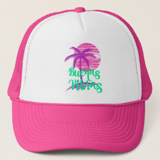Green Palm Tree Buenas Vibras Good Vibes Trucker Hat