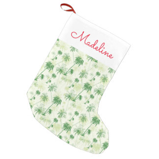 Green Palm Tree Pattern | Add Your Name Small Christmas Stocking