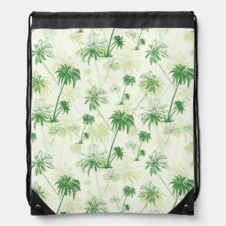 Green Palm Tree Pattern Drawstring Bag