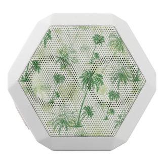 Green Palm Tree Pattern White Bluetooth Speaker