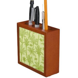 Green Palm Trees Pattern Desk Organiser
