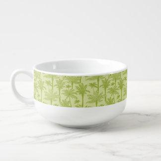 Green Palm Trees Pattern Soup Mug