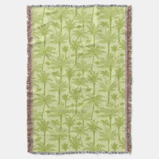 Green Palm Trees Pattern Throw Blanket