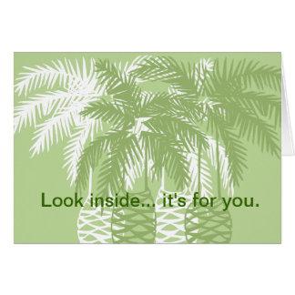 Green palm trees with tarantula card