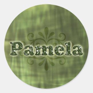 Green Pamela Round Stickers