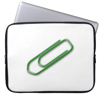 Green Paper Clip Computer Sleeve
