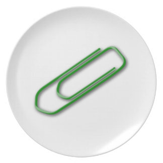 Green Paper Clip Party Plate