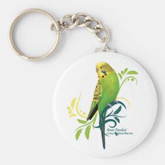 Green Parakeet Basic Round Button Key Ring