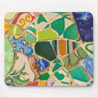 Green Parc Guell Tiles in Barcelona Spain Mouse Mat