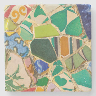 Green Parc Guell Tiles in Barcelona Spain Stone Coaster