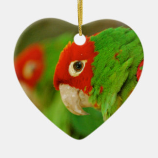 Green parrot ceramic heart decoration