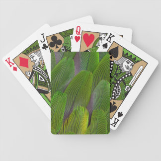 Green Parrot Feathers Close Up Bicycle Playing Cards