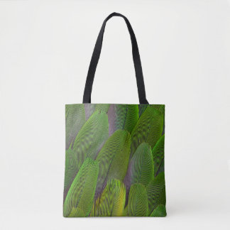 Green Parrot Feathers Close Up Tote Bag
