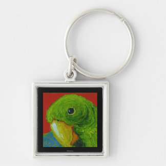 Green Parrot Silver-Colored Square Key Ring
