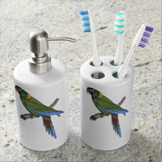 Green Parrot Macaw Painting Soap Dispenser And Toothbrush Holder