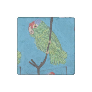 green parrot marble stone magnet