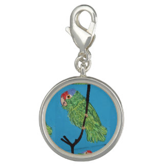 green parrot round charm