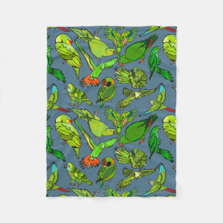 Green Parrots on Slate Blue Background Fleece Blanket