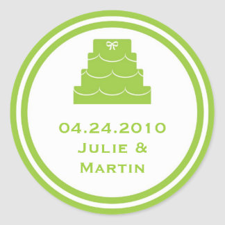 Green party cake wedding favour tag seal label round sticker