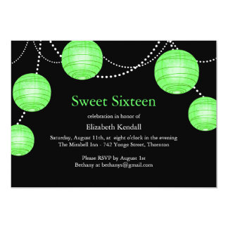 Green Party Lantern Sweet 16 Birthday Invitation