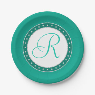 Green Party | Monogram Script Chic Aracadia Teal | Paper Plate