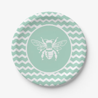 Green Pastel Chevron White Bee Paper Plate