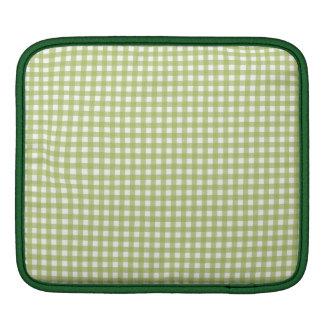 Green pastel gingham plaid cute retro pattern iPad sleeves