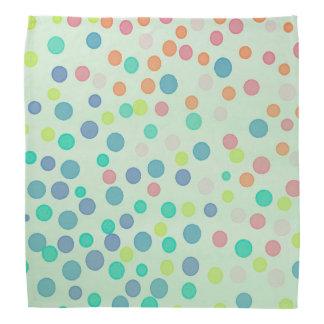 Green pastel multicolor dots head kerchief