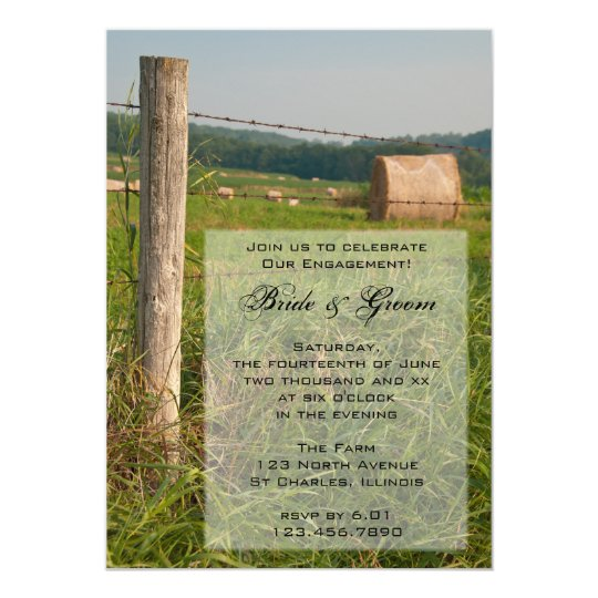Green Pastures Country Engagement Party Invitation