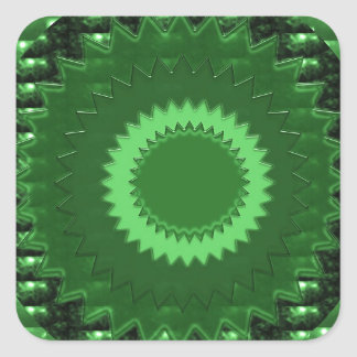 GREEN  Patch: Based  Healing CRYSTAL STONE Square Stickers