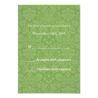 Green Patter Background Wedding RSVP Cards Invites