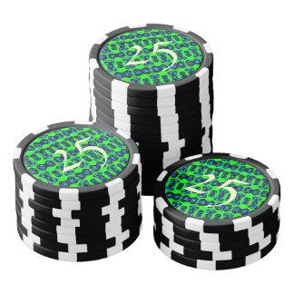 Green pattern abstract art poker chips