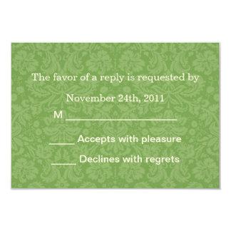 "Green Pattern Background RSVP Cards Invites 3.5"" X 5"" Invitation Card"