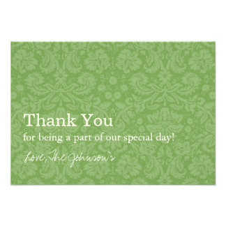 Green Pattern Background Wedding Thank You Cards Personalized Invitation