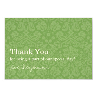 """Green Pattern  Background Wedding Thank You Cards 3.5"""" X 5"""" Invitation Card"""