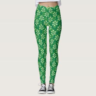 green pattern leggings