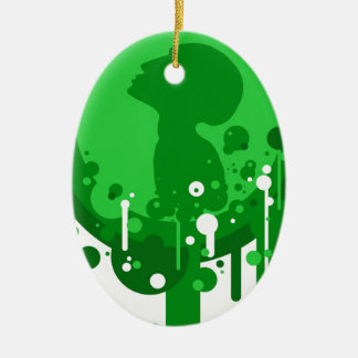 Green pattern of hope christmas ornament