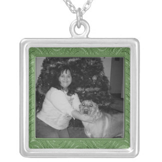 green pattern photo frame square pendant necklace